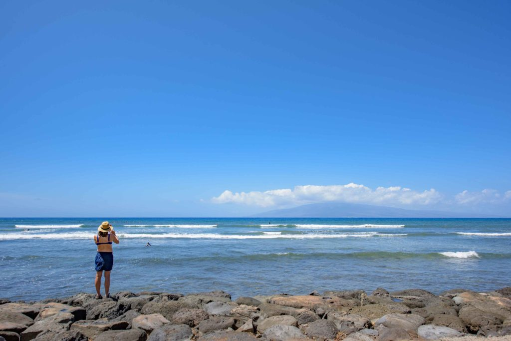 Watching Surfers at Launiupoko Beach Park